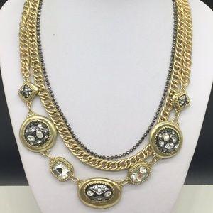 Chico's Gold Rhinestone Layered Necklace